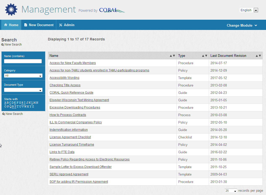 management module screen shot
