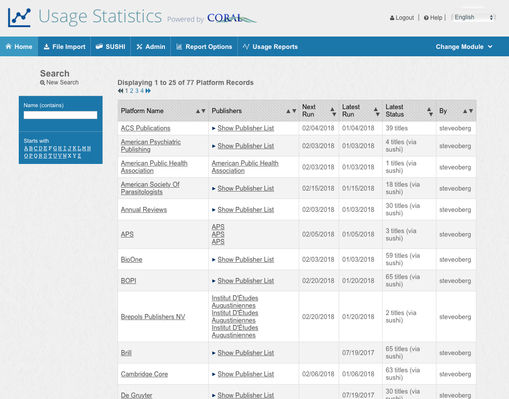 usage statistics module screen shot