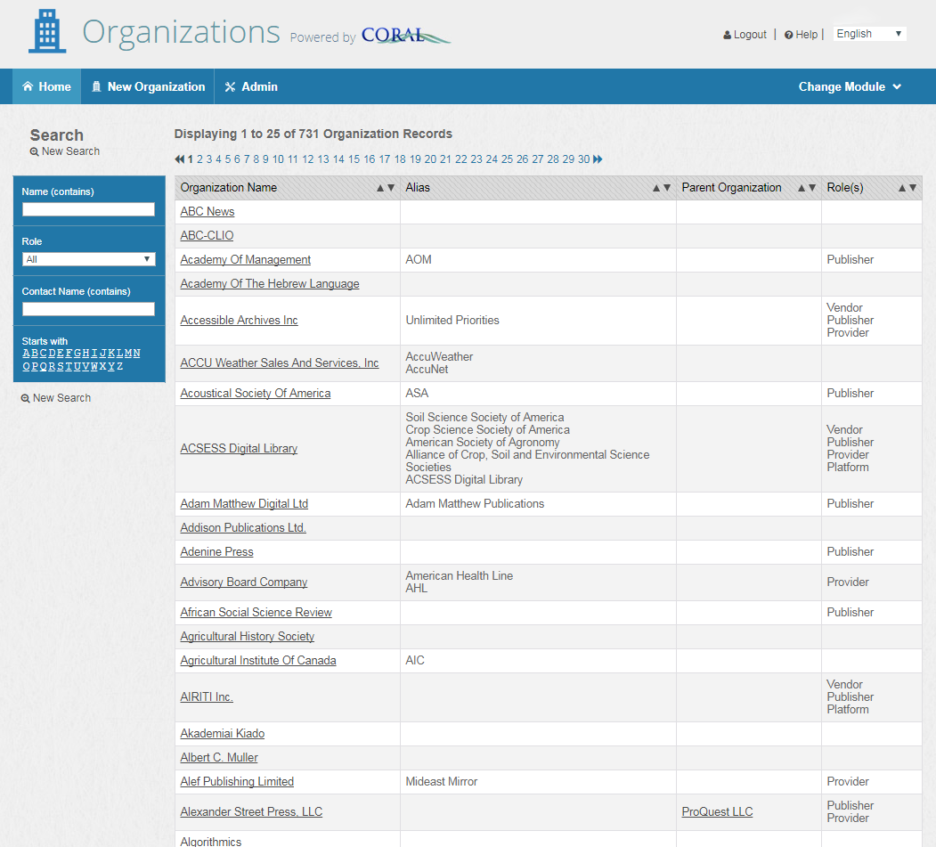 organizations module screen shot